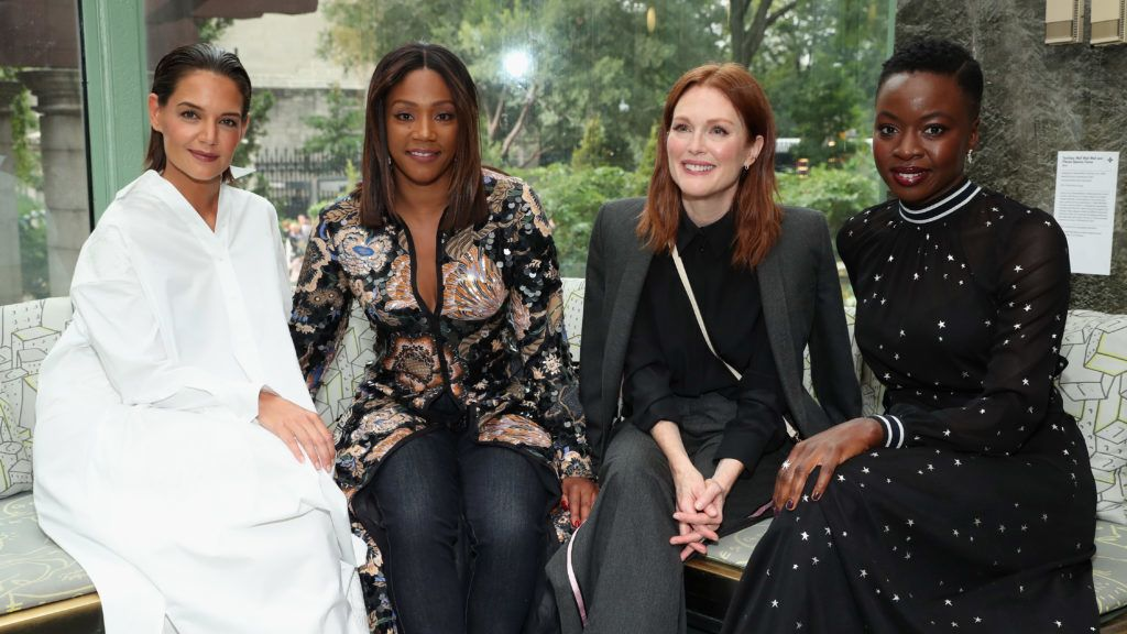 NEW YORK, NY - SEPTEMBER 07:  (L-R) Actors Katie Holmes, Tiffany Haddish, Julianne Moore and Danai Gurira pose backstage during the Tory Burch Spring Summer 2019 Fashion Show at Cooper Hewitt, Smithsonian Design Museum on September 7, 2018 in New York City.  (Photo by Cindy Ord/Getty Images for Tory Burch)