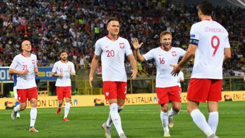 BOLOGNA, ITALY - SEPTEMBER 07:  Piotr Zielinski of Poland celebrates after scoring the opening goal during the UEFA Nations League A group three match between Italy and Poland at Stadio Renato Dall'Ara on September 7, 2018 in Bologna, Italy.  (Photo by Alessandro Sabattini/Getty Images)