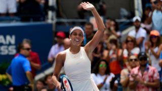 """NEW YORK, NY - SEPTEMBER 01: Madison Keys of the United States celebrates after beating Aleksandra Krunic of Serbia in the third round of the US Open at the USTA Billie Jean King National Tennis Centre on September 01, 2018 in New York City, United States. (Photo by TPN/Getty Images)""""n""""n"""