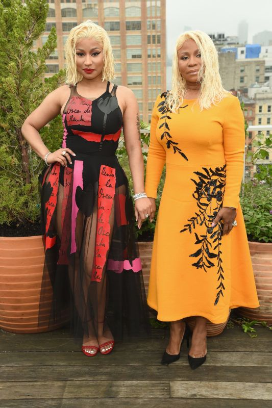 NEW YORK, NY - SEPTEMBER 11:  Nicki Minaj (L) and Carol Maraj attend the Oscar De La Renta front Row during New York Fashion Week: The Shows at Spring Studios Terrace on September 11, 2018 in New York City.  (Photo by Dimitrios Kambouris/Getty Images for NYFW: The Shows)