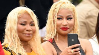 NEW YORK, NY - SEPTEMBER 11:  Rapper Nicki Minaj (R) and Carol Maraj attend the Oscar De La Renta front Row during New York Fashion Week: The Shows at Spring Studios Terrace on September 11, 2018 in New York City.  (Photo by Dimitrios Kambouris/Getty Images for NYFW: The Shows)
