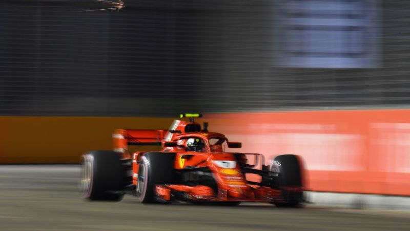 SINGAPORE - SEPTEMBER 14: Kimi Raikkonen of Finland driving the (7) Scuderia Ferrari SF71H on track during practice for the Formula One Grand Prix of Singapore at Marina Bay Street Circuit on September 14, 2018 in Singapore.  (Photo by Clive Mason/Getty Images)