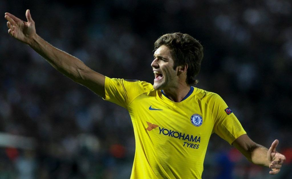THESSALONIKI, GREECE - SEPTEMBER 20: Marcos Alonso of Chelsea shouting during the UEFA Europa League Group L match between PAOK and Chelsea at Toumba Stadium on September 20, 2018 in Thessaloniki, Greece. (Photo by MB Media/Getty Images)