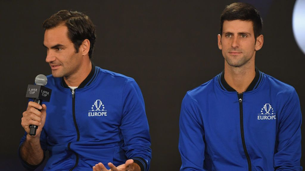 CHICAGO, IL - SEPTEMBER 20:  Team Europe Roger Federer of Switzerland and Team Europe Novak Djokovic of Serbia speak during a press conference prior to the Laver Cup at the United Center on September 20, 2018 in Chicago, Illinois. The Laver Cup consists of six players from Team World competing against their counterparts from Team Europe. John McEnroe will captain Team World and Team Europe will be captained by Bjorn Borg. The event runs from 21-23 Sept.  (Photo by Stacy Revere/Getty Images for The Laver Cup)