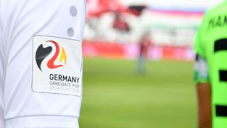 NUREMBERG, GERMANY - SEPTEMBER 22: A patch with the logo of the Germany 24 candidacy for the UEFA Euro 2024 is seen on a jersey during the Bundesliga match between 1. FC Nuernberg and Hannover 96 at Max-Morlock-Stadion on September 22, 2018 in Nuremberg, Germany. (Photo by Sebastian Widmann/Bongarts/Getty Images)