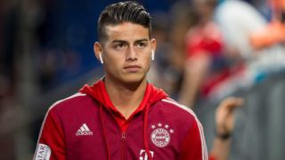 GELSENKIRCHEN, GERMANY - SEPTEMBER 22: James Rodriguez of Bayern Muenchen looks on prior to the Bundesliga match between FC Schalke 04 and FC Bayern Muenchen at Veltins-Arena on September 22, 2018 in Gelsenkirchen, Germany. (Photo by TF-Images/Getty Images)