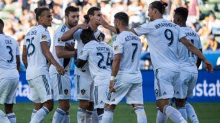 CARSON, CA - SEPTEMBER 23: The team congratulates Ema Boateng #24 of Los Angeles Galaxy on his goal during the Los Angeles Galaxy's MLS match against Seattle Sounders at the StubHub Center on September 23, 2018 in Carson, California.  Los Angeles Galaxy won the match 3-0(Photo by Shaun Clark/Getty Images)