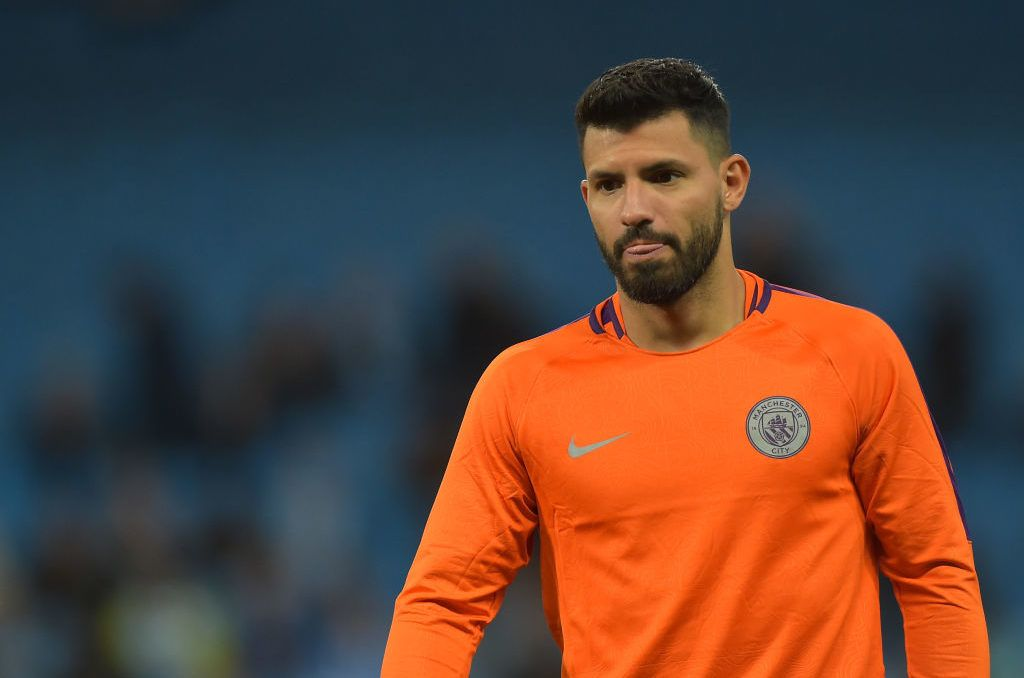 MANCHESTER, ENGLAND - SEPTEMBER 19: Sergio Aguero of Manchester City looks on during the UEFA Champions League Group F match between Manchester City and Olympique Lyonnais at Etihad Stadium on September 19, 2018 in Manchester, United Kingdom. (Photo by TF-Images/Getty Images)