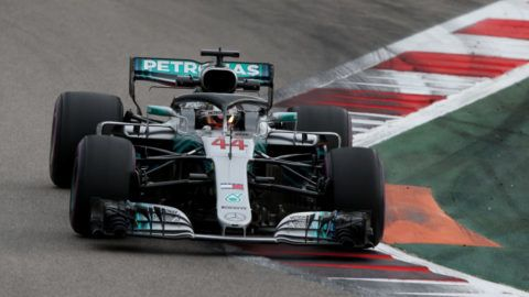 SOCHI, RUSSIA - SEPTEMBER 28: Lewis Hamilton of Great Britain driving the (44) Mercedes AMG Petronas F1 Team Mercedes WO9 on track during practice for the Formula One Grand Prix of Russia at Sochi Autodrom on September 28, 2018 in Sochi, Russia.  (Photo by Charles Coates/Getty Images)