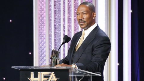 BEVERLY HILLS, CA - NOVEMBER 06:  Eddie Murphy speaks onstage during the 20th Annual Hollywood Film Awards held at The Beverly Hilton Hotel on November 6, 2016 in Beverly Hills, California.  (Photo by Michael Tran/FilmMagic)
