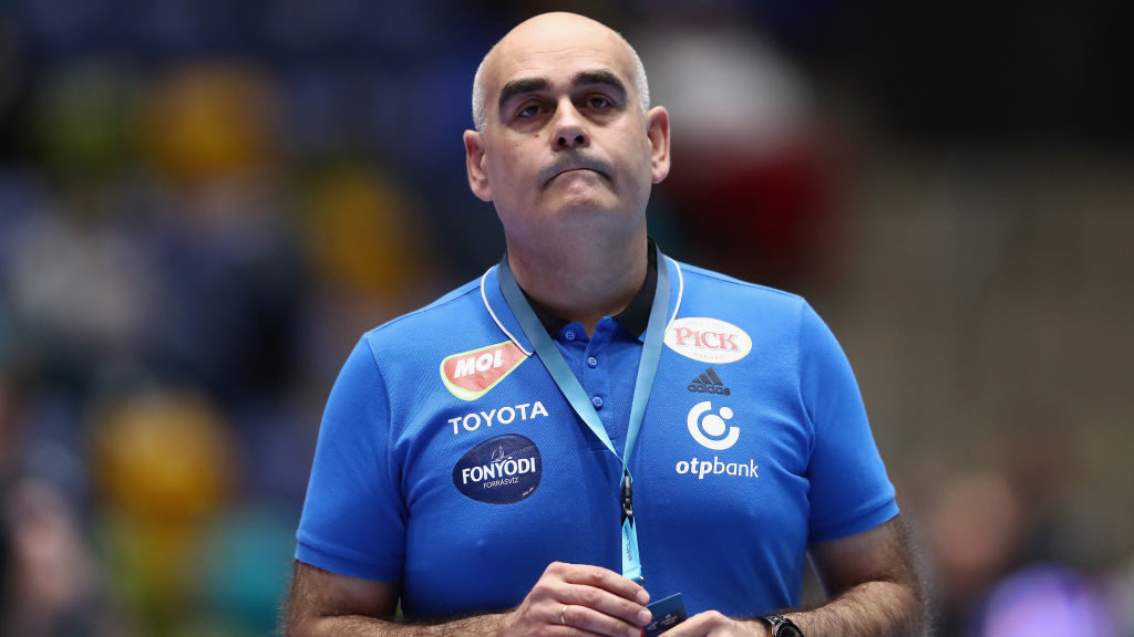 FRANKFURT AM MAIN, GERMANY - MARCH 08:  Head coach Juan Carlos Pastor Gomez of Szeged reacts during the EHF Champions League match between Rhein Neckar Loewen and Mol-Pick Szeged at Fraport-Arena on March 8, 2017 in Frankfurt am Main, Germany.  (Photo by Alex Grimm/Bongarts/Getty Images)
