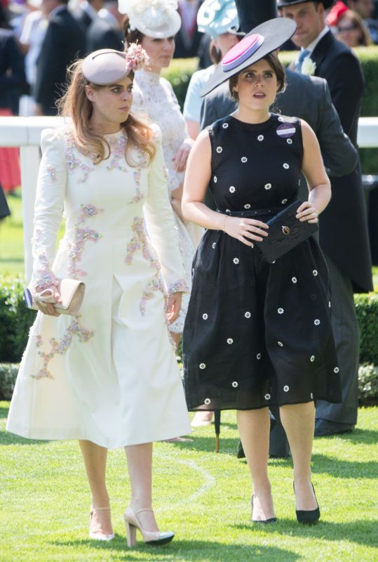 ASCOT, ENGLAND - JUNE 20:  Princess Beatrice of York and Princess Eugenie of Yorkattends Royal Ascot 2017 at Ascot Racecourse on June 20, 2017 in Ascot, England.  (Photo by Samir Hussein/Samir Hussein/WireImage)