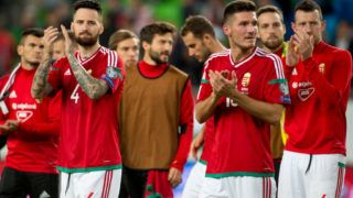 Tamas Kadar (4) and Adam Pinter (16) of Hungary thanks their fans during the FIFA World Cup 2018 Qualifying Round match between Hungary and Portugal at Groupama Arena in Budapest, Hungary on September 3, 2017 (Photo by Andrew Surma/NurPhoto via Getty Images)