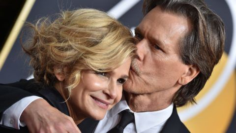 BEVERLY HILLS, CA - JANUARY 07:  Actors Kyra Sedgwick and Kevin Bacon attend the 75th Annual Golden Globe Awards at The Beverly Hilton Hotel on January 7, 2018 in Beverly Hills, California.  (Photo by Axelle/Bauer-Griffin/FilmMagic)