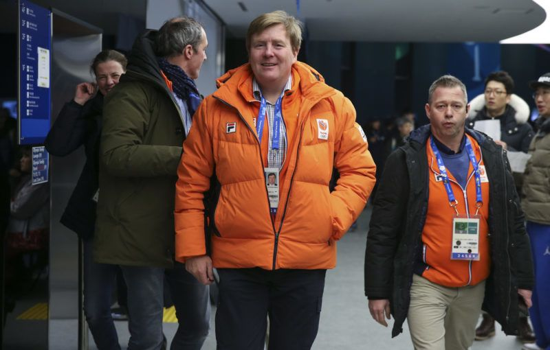 GANGNEUNG, SOUTH KOREA - FEBRUARY 13: King Willem-Alexander of the Netherlands attends the short-track events during the 2018 Winter Olympic Games at Gangneung Ice Arena on February 13, 2018 in Gangneung, Pyeongchang, South Korea. (Photo by Jean Catuffe/Getty Images)