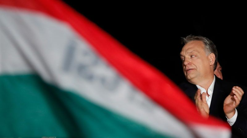 BUDAPEST, HUNGARY - APRIL 08: Hungarian Prime Minister Viktor Orban addresses the supporters after the announcement of the partial results of parliamentary election on April 8,2018 in Budapest Hungary. (Photo by Laszlo Balogh/Getty Images)