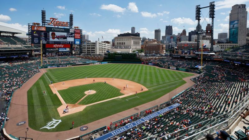 DETROIT, MI - MAY 31: General view of the ball park from the upper level as the Los Angeles Angels play against the Detroit Tigers at Comerica Park on May 31, 2018 in Detroit, Michigan. The Tigers won 6-2. (Photo by Joe Robbins/Getty Images)