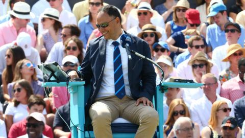 Umpire Mohamed Lahyani of Sweden during Fever-Tree Championships Final match between Marin Cilic (CRO) against Novak Djokovic (SRB) at The Queen's Club, London, on 24 June 2018 (Photo by Kieran Galvin/NurPhoto via Getty Images)