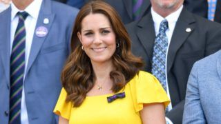 LONDON, ENGLAND - JULY 15:  Catherine, Duchess of Cambridge attends the men's single final on day thirteen of the Wimbledon Tennis Championships at the All England Lawn Tennis and Croquet Club on July 15, 2018 in London, England.  (Photo by Karwai Tang/WireImage )