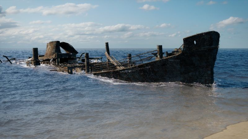 The wreck of the Robert E Lee is revealed as the ocean begins to drain away. (Electric Pictures)