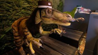 """A pair of robot dinosaurs wearing bellboy hats welcome guests from the front desk at the Henn-na Hotel in Urayasu, suburban Tokyo on August 31, 2018.  The reception at the Henn-na Hotel east of Tokyo is eeriely quiet until customers near the robot dinosaurs manning front desk. Their sensors detect motion and they bellow: """"Welcome."""" It might be about the weirdest check-in experience possible, but that's exactly the point at the Henn-na (""""Weird"""") chain, which bills itself as offering the world's first hotels staffed by robots. / AFP PHOTO / Kazuhiro NOGI"""