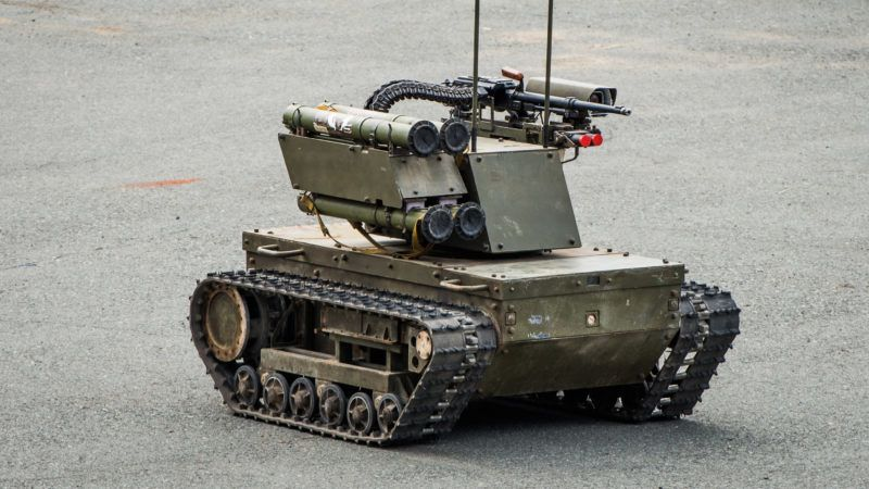 """Platform-M""  combat robot which can be used both for patrolling and attacks."