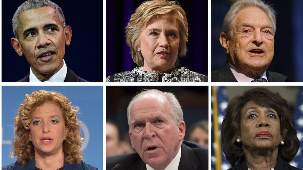 (COMBO) This combination of file photos created on October 25, 2018 shows top L-R: actor Robert De Niro former US President Barack Obama (L), former Secretary of State Hillary Clinton (C), and billionaire George Soros; bottom L-R: former US Vice President Joe Biden, Democratic lawmaker Debbie Wasserman Schultz, former CIA director John Brennan, and California Democratic Representative Maxine Waters. - Biden and De Niro were the latest targets on October 25, 2018, of a spree of suspicious packages and pipe bombs sent to opponents of US President Donald Trump. (Photo by various sources / AFP)