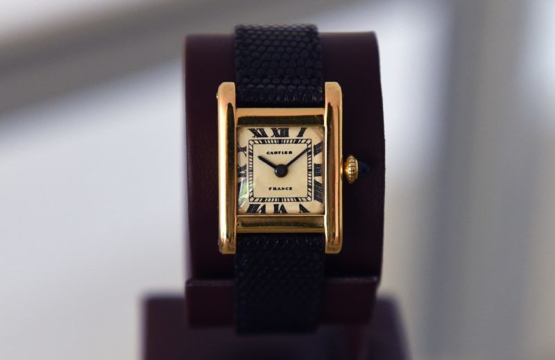 """A Signed Cartier, Tank Model,  Manufactured in 1962 belonging to Jacqueline Kennedy Onassis dubbed the """"The Jacqueline Kennedy Onassis Cartier Tank"""" is  display at Christie's in New York on June 20, 2017, a day before the Rare Watches and American Icons New York sale. (Photo by TIMOTHY A. CLARY / AFP)"""