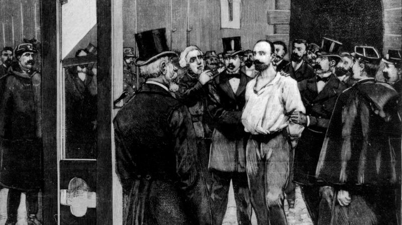 Execution of the anarchist Vaillant after the bombing of the Chamber of Deputies: the convict is lead outside the prison de la Roquette February 11, 1894 France