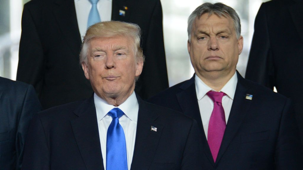 3110820 05/25/2017 US President Donald Trump, left, and Prime Minister of Hungary Viktor Orban at a group photo ceremony for NATO heads of delegations, at a NATO summit in Brussels. Alexey Vitvitsky/Sputnik