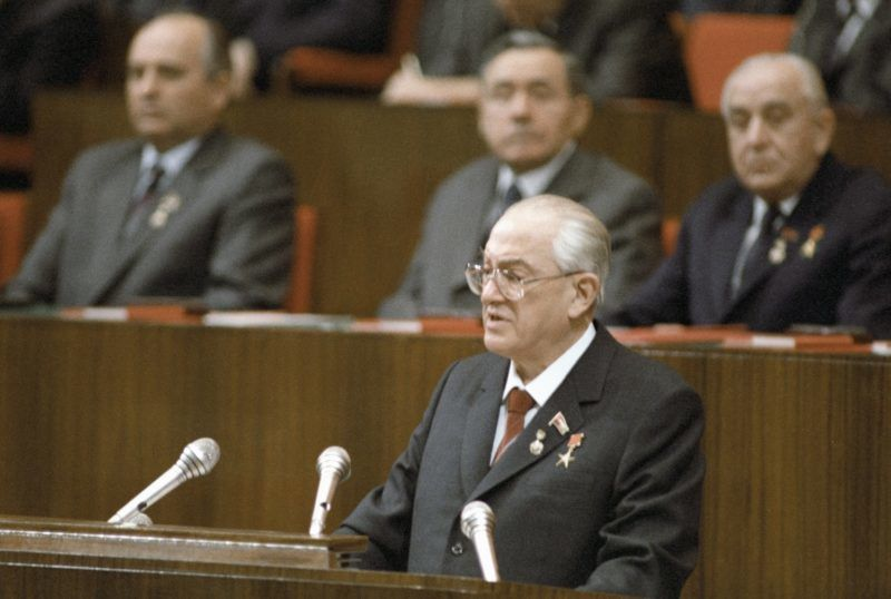General Secretary of the CPSU Yuri Andropov speaking at the grand meeting of the CPSU, the USSR Supreme Soviet and Supreme Soviet of the Russian SFSR to mark the 60th anniversary of the USSR.