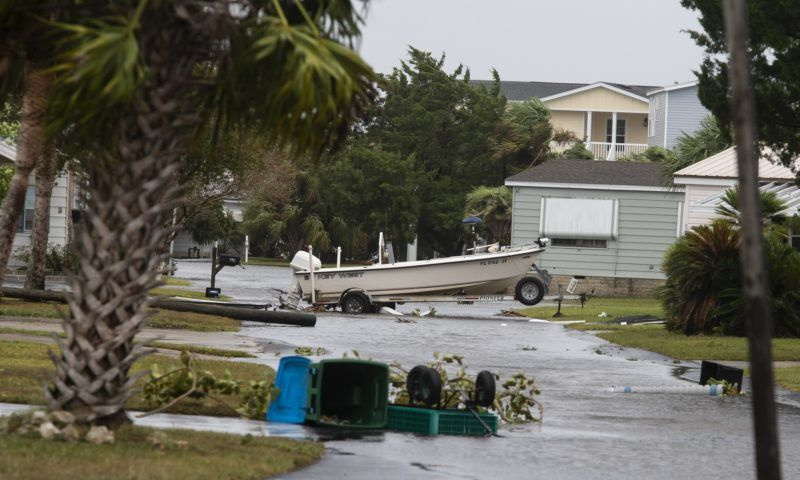 CRAWFORDVILLE - OCTOBER 10: Damage from Hurricane Michael at the Village of Shell Point on October 10, 2018 in Crawfordville, Florida. The hurricane hit the Florida Panhandle as a category 4 storm.   Mark Wallheiser/Getty Images/AFP