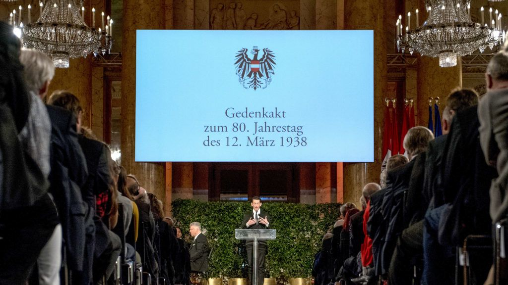 """Austrian Chancellor Sebastian Kurz speaks during a commemoration ceremony on the occasion of the 80th anniversary of Austria's annexation to Germany, the so-called """"Anschluss"""", at the Hofburg palace in Vienna, Austria, on March 12, 2018. - Austria on March 12, 2018 marks the 80th anniversary of its annexation by Nazi Germany, with the country's President Alexander Van der Bellen urging young people not to be """"taken in"""" by neo-fascist and far-right ideologies. On March 12, 1938, Adolf Hitler ordered 200,000 soldiers, SS officers and police to invade Austria, his native country, subsequently declaring its """"Anschluss"""" or annexation by the Third Reich. (Photo by JOE KLAMAR / AFP)"""