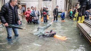 Weather emergency In Venice, italy, on 29 October 2018 due to the High water: almost all the city have been underwater with a maximum level reached of 160cm on the sea level. (Photo by Giacomo Cosua/NurPhoto)