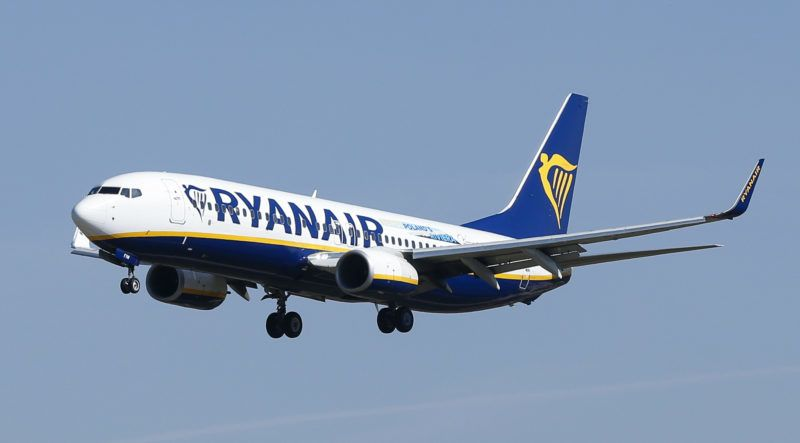A Ryanair Boeing 737-800 aircraft lands at Barcelona's 'El Prat' airport on September 28, 2018.  Ryanair cancelled scores of European flights today as unions staged what they warned could be the biggest strike in the airline's history. The Dublin-based low-cost carrier has played down fears of widespread disruption but confirmed it would cancel nearly 250 flights.   / AFP PHOTO / PAU BARRENA