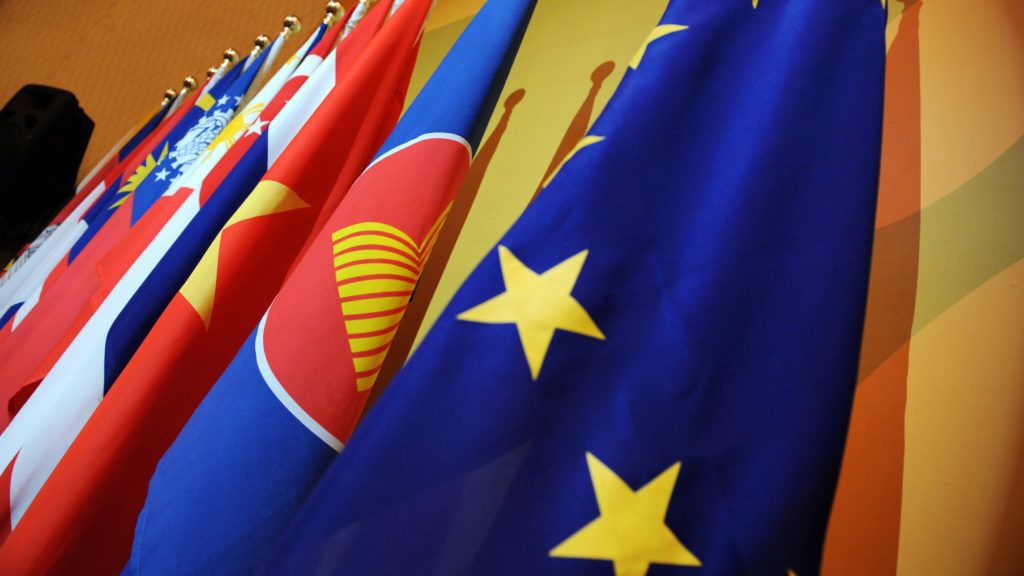 The flag of the European Union (R) stands beside the flag of the Association of the Southeast Asian Nations (ASEAN) and the organisation's 10 members during the ASEAN-EU ministerial meeting in Singapore on July 23, 2008.  Ministers and top officials from Asia, Europe and the United States have gathered in Singapore this week for the annual ASEAN Regional Forum (ARF), the principal official forum for security dialogue in Asia.    AFP PHOTO / POOL / ROMEO GACAD (Photo by ROMEO GACAD / POOL / AFP)