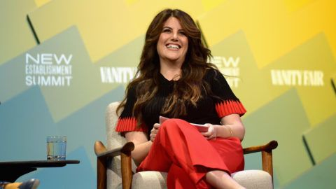 BEVERLY HILLS, CA - OCTOBER 09: Contributing editor at Vanity Fair, Monica Lewinsky speaks onstage at Day 1 of the Vanity Fair New Establishment Summit 2018 at The Wallis Annenberg Center for the Performing Arts on October 9, 2018 in Beverly Hills, California.   Matt Winkelmeyer/Getty Images/AFP