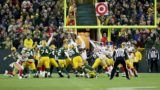 GREEN BAY, WI - OCTOBER 15: Mason Crosby #2 of the Green Bay Packers kicks a field goal to beat the San Francisco 49ers 33-30 at Lambeau Field on October 15, 2018 in Green Bay, Wisconsin.   Dylan Buell/Getty Images/AFP