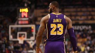PHOENIX, AZ - OCTOBER 24: LeBron James #23 of the Los Angeles Lakers reacts during the NBA game against the Phoenix Suns at Talking Stick Resort Arena on October 24, 2018 in Phoenix, Arizona. The Lakers defeated the Suns 131-113. NOTE TO USER: User expressly acknowledges and agrees that, by downloading and or using this photograph, User is consenting to the terms and conditions of the Getty Images License Agreement.   Christian Petersen/Getty Images/AFP