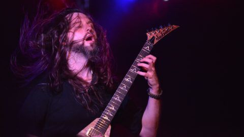 """DENVER, CO - OCTOBER 14: Guitarist Oli Herbert Philip with """"All that Remains"""" at the Grizzly Rose on October 14, 2016 in Denver, Colorado.   Tom Cooper/Getty Images for Freedom On Festival/AFP"""