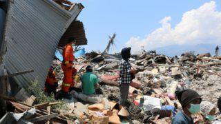 SULAWESI, INDONESIA - OCTOBER 02: Rescue teams continue searching works at the earthquake and tsunami devastated area in Central Sulawesi, in Indonesia on October 2, 2018. The death toll from the 7.7-magnitude earthquake and tsunami on the island of Sulawesi has risen to 1,203, the country's disaster management agency said on Sunday.  Mahmut Atanur / Anadolu Agency