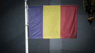 A Romanian flag is seen in central Bucharest, Romania on October 9, 2018. (Photo by Jaap Arriens/NurPhoto)