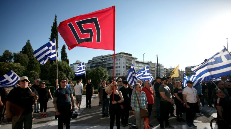Golden Dawn members and supporters held a rally in Syntagma square in Athens, Greece on May 29, 2018 to commemorate the conquest of Istanbul from the Ottoman Turks, on May 29, 1453. (Photo by Giorgos Georgiou/NurPhoto)