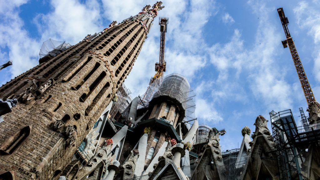 A view of Sagrada Familia, on September 12, 2018 in Barcelona, Spain. The basilica is a largely unfinished Roman Catholic church, designed by Catalan architect Antoni Gaudi.  (Photo by Manuel Romano/NurPhoto)