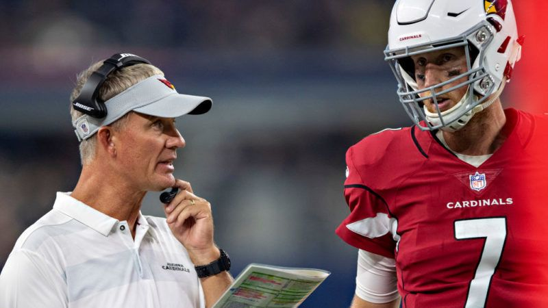 ARLINGTON, TX - AUGUST 26:  Offensive Coordinator Mike McCoy talks with Mike Glennon #7 of the Arizona Cardinals during a game against the Dallas Cowboys at AT&T Stadium during week 3 of the preseason on August 26, 2018 in Arlington, Texas.  The Cardinals defeated the Cowboys 27-3.  (Photo by Wesley Hitt/Getty Images)
