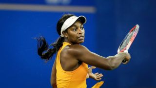 WUHAN, CHINA - SEPTEMBER 23:  Sloane Stephens of USA reacts against Anett Kontaveit of Estonia during 2018 Wuhan Open at Optics Valley International Tennis Center on September 23, 2018 in Wuhan, China.  (Photo by Wang HE/Getty Images)