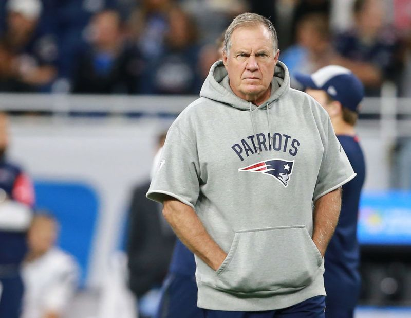 DETROIT, MI - SEPTEMBER 23: Head coach Bill Belichick of the New England Patriots walks on the field prior to the start of the game against the Detroit Lions at Ford Field on September 23, 2018 in Detroit, Michigan.  (Photo by Rey Del Rio/Getty Images)