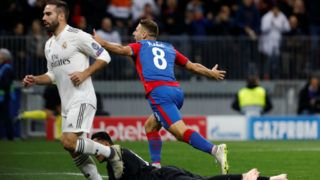 MOSCOW, RUSSIA - OCTOBER 02: Nikola Vlasic (C) of CSKA Moscow celebrates his goal during the Group G match of the UEFA Champions League between CSKA Moscow and Real Madrid at Luzhniki Stadium on October 2, 2018 in Moscow, Russia. (Photo by MB Media/Getty Images)