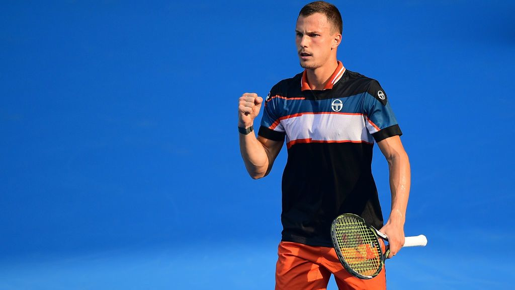 BEIJING, CHINA - OCTOBER 04:  Marton Fucsovics of Hungary celebrates after winning a point against Marco Cecchinato of Italy during their Men's Singles 2nd Round match of the 2018 China Open at the China National Tennis Centre on October 4, 2018 in Beijing, China.  (Photo by Zhe Ji/Getty Images)