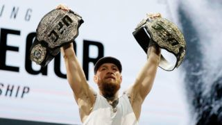 LAS VEGAS, NV - OCTOBER 04:  Conor McGregor poses for cameras following a press conference for UFC 229 at Park Theater at Park MGM on October 04, 2018 in Las Vegas, Nevada. McGregor will challenge UFC lightweight champion Khabib Nurmagomedov for his title at UFC 229 on October 6 at T-Mobile Arena in Las Vegas, Nevada  (Photo by Isaac Brekken/Getty Images)
